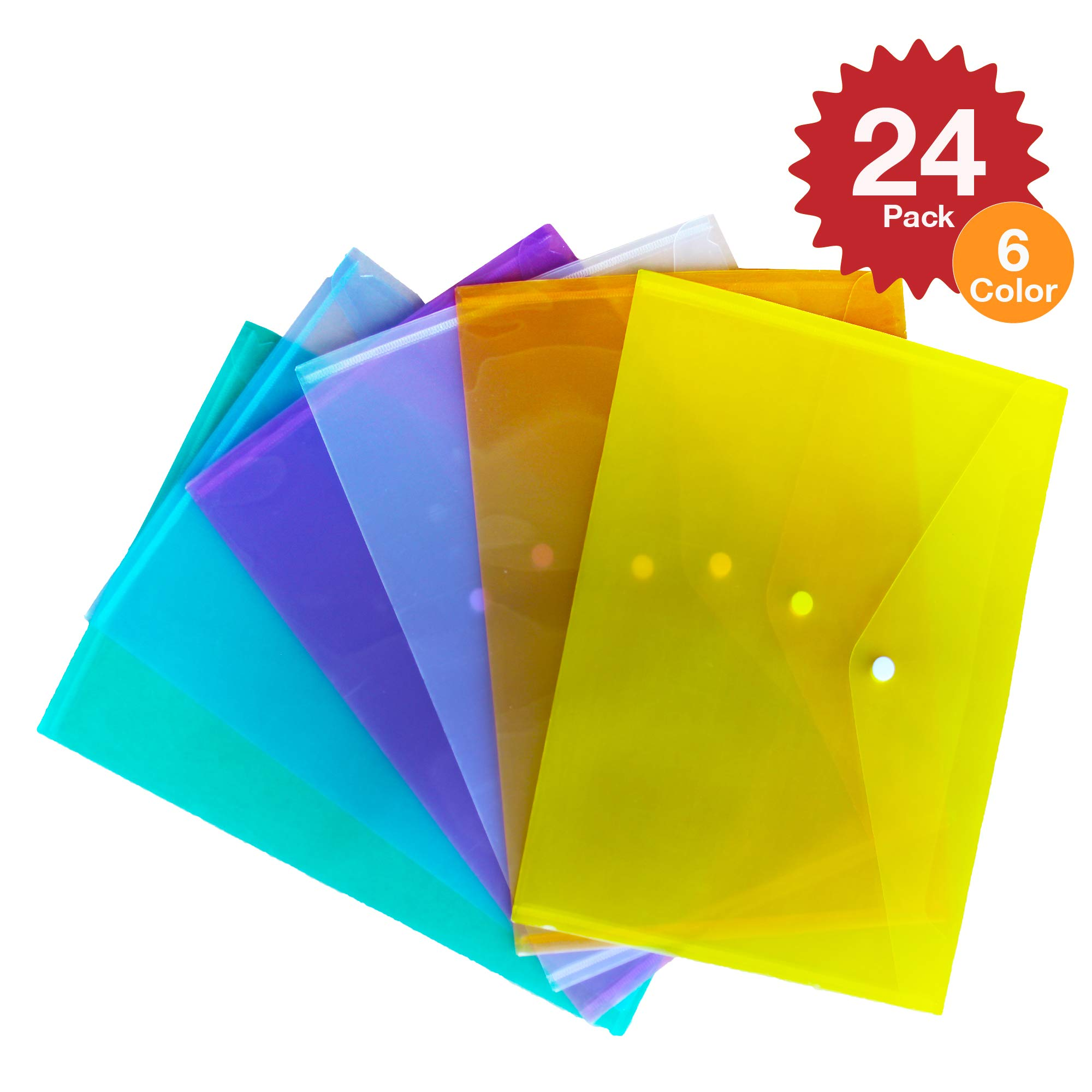 Multicolored Clear Document Folder with Snap Button ~ Poly Filing Envelope Stores US Letter / A4 Size Paper ~ 6 Assorted Colors (Multi Color - Set of 24)
