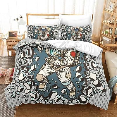 Comfortable home Space Astronaut Bedding Sets Full 100% Microfiber Cartoon 3D Printed Boys Duvet Cover Sets,Cosmonaut bedcover Quilt 1 Duvet Cover 2 Pillowcase,No Comforter/Quilt (Queen(90''x90'')): Home & Kitchen