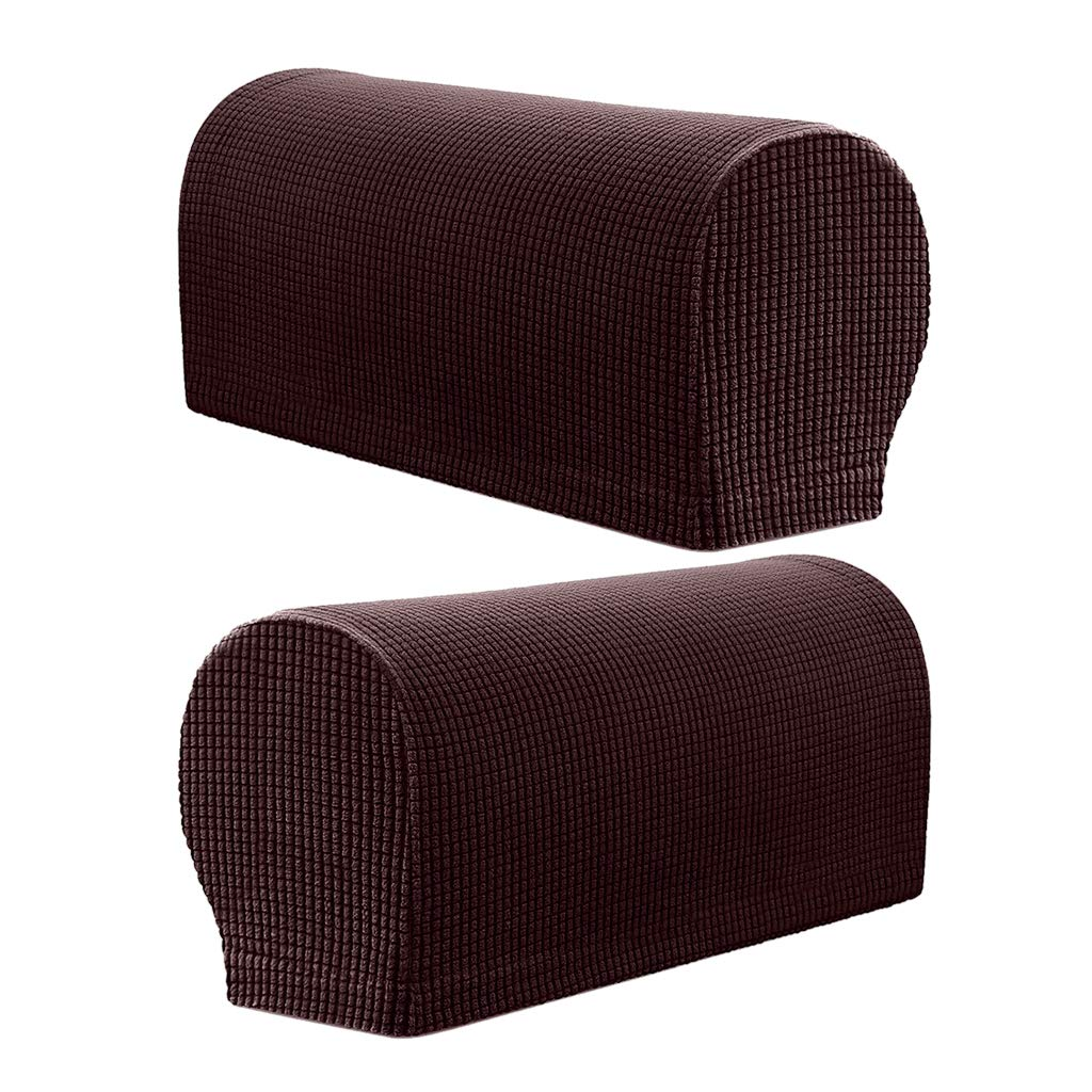 B Blesiya Premium Stretch Fabric Furniture Armrest Cover, Set of 2, Fits Most Shape Arms of Recliner Sofa Couch - Chocolate, as described