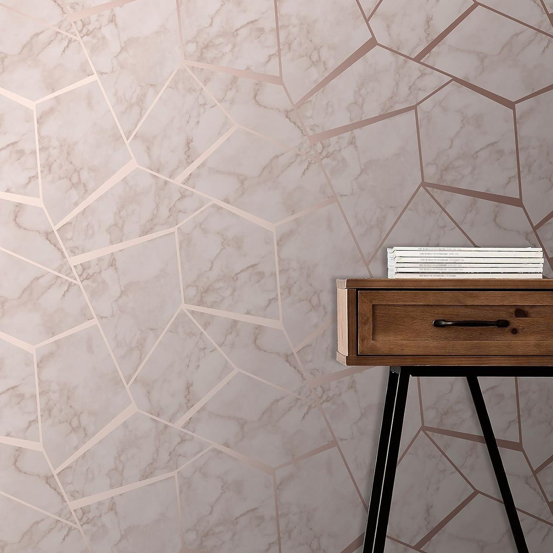 Fractal Geometric Marble Wallpaper Rose Gold Fine Decor Fd42264