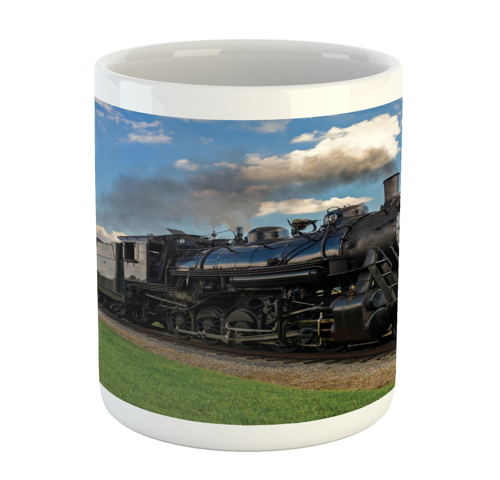 Ambesonne Steam Engine Mug, Vintage Locomotive in Countryside Scenery Green Grass Puff Train Picture, Printed Ceramic Coffee Mug Water Tea Drinks Cup, Blue Green Black