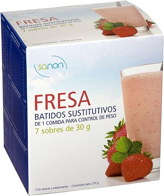 Sanon Batido Sustitutivo Fresa - 2 Paquetes de 7 Unidades ...