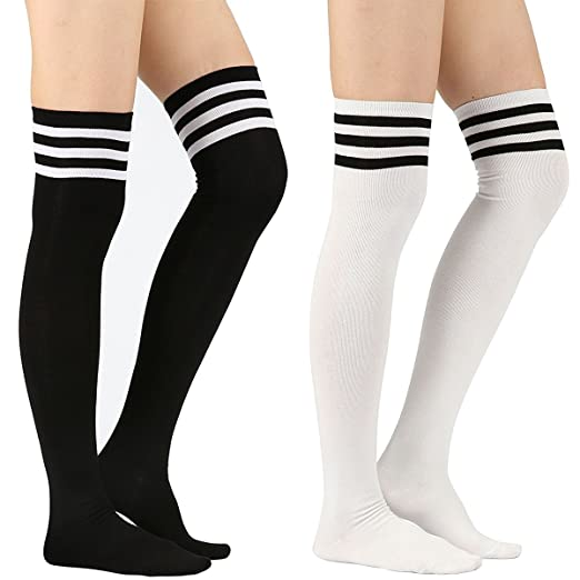 a832fd46fc0 Women s Tube Long Socks Over Knee Stripe Thigh High Boot Knitted Dress  Stocking 2 Pack 1