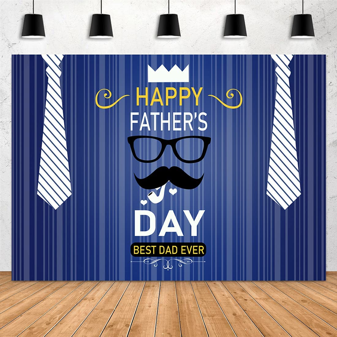 Aperturee 7x5ft Happy Father's Day Backdrop Bearded Blue Striped White Tie Royal Crown Portrait Photography Background Thanks Dad Family Props Photo Studio Booth Party Decorations Banner Decor
