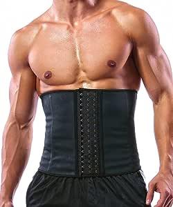GainKee 100% Latex Men Waist Trainer Corsets with Steel Bone Sweat Belt Sauna Suit for Fitness