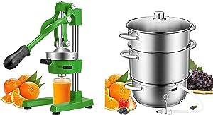 VIVOHOME Heavy Duty Commercial Manual Hand Press Citrus Orange Lemon Juicer Squeezer Machine Green and 24cm 8.5Qt Stainless Steel Juice Steamer Extractor Fruit Vegetables Juicer Steamer Pot