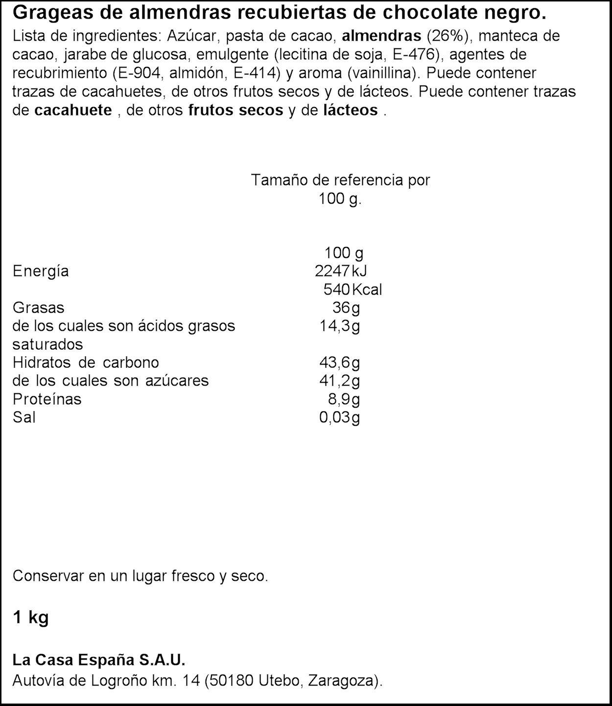 Lacasa Almendra con Chocolate Negro - 1000 gr: Amazon.es: Alimentación y bebidas