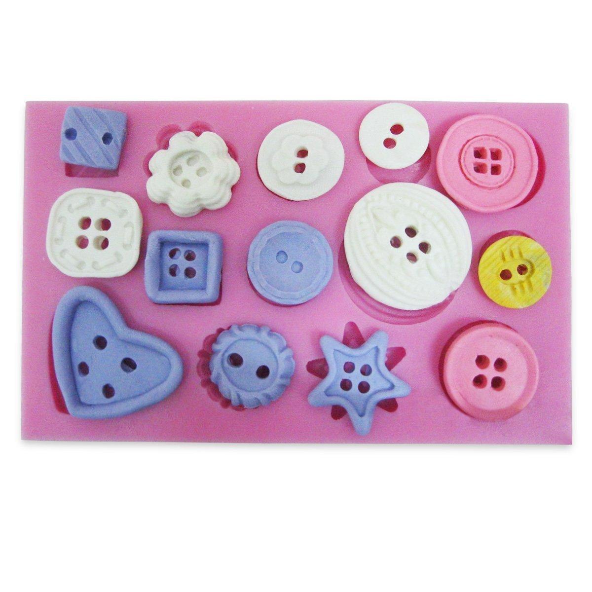 Silicone Button Pattern Mold Cake Sugar Paste Fondant Mould Kitchen Baking Tool Wanrane