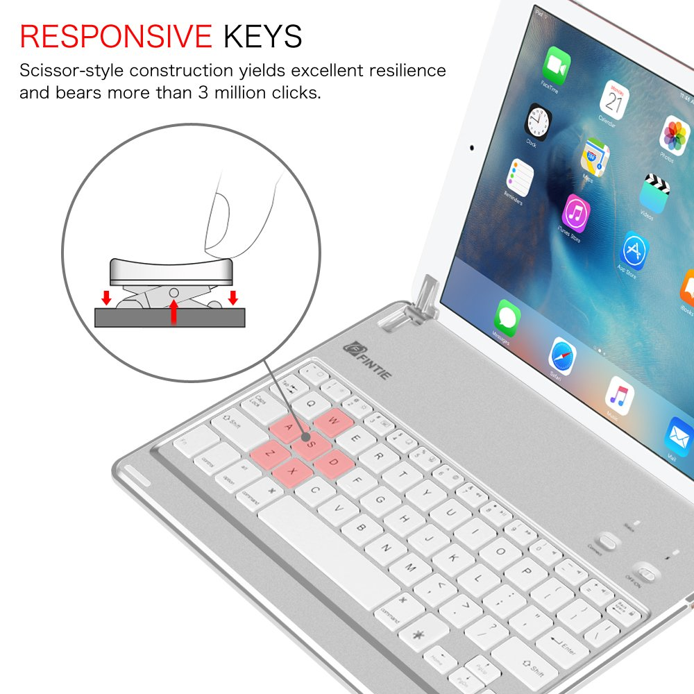 Fintie iPad Pro 9.7 / iPad Air 2 Keyboard Cover - [Multi-Angle] 7 Colors Backlit Slim Wireless Bluetooth Keyboard (with Auto Wake / Sleep) for Apple iPad Air 2 / iPad Pro 9.7 (Silver) by Fintie (Image #5)