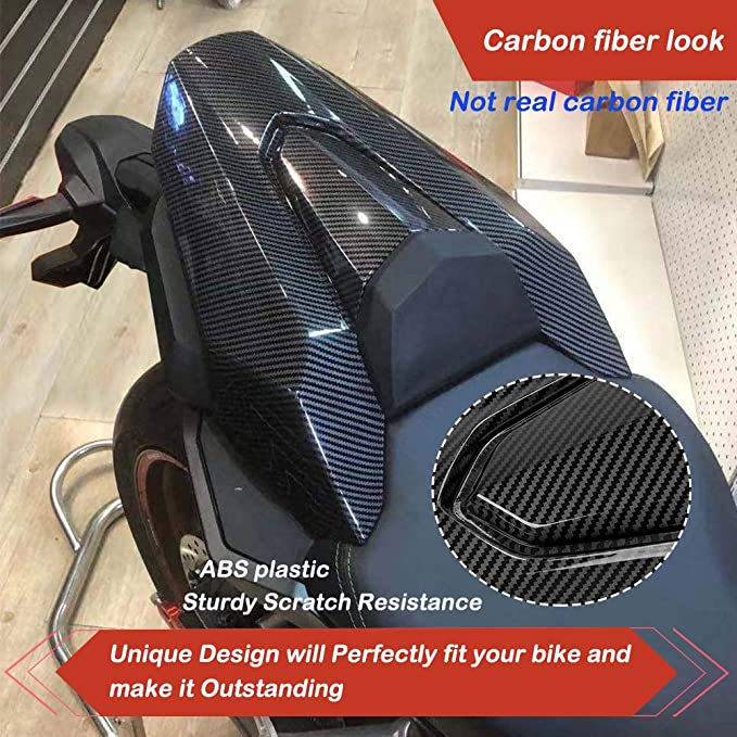 Aspecto de fibra de carbono LoraBaber Asiento de la motocicleta Cubierta del asiento trasero Capucha Solo Asiento Capucha Para CB650R 2019 2020 CBR650R CB650R CB 650r CBR 650R