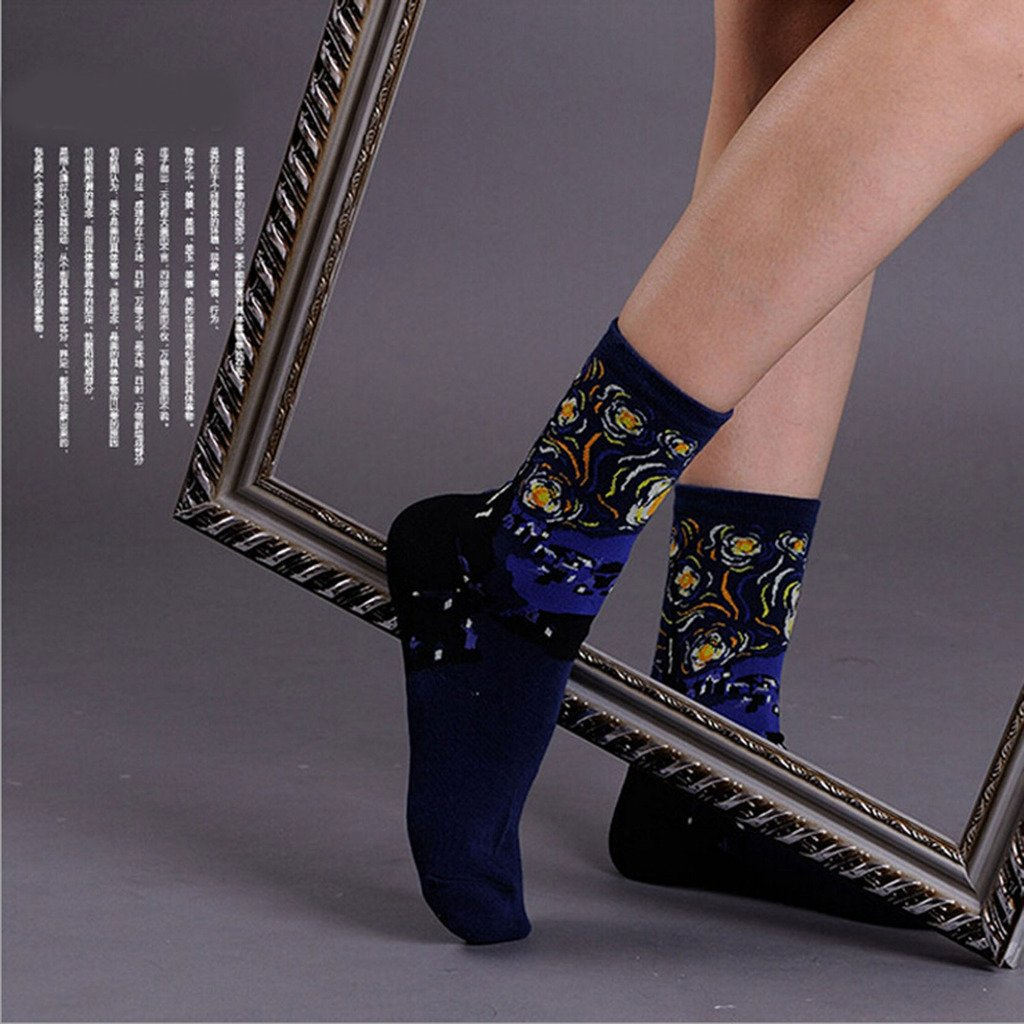 Amazon.com: Jiayiqi Women Famous Mona Lisa Ankle Socks Starry Night Crew Socks 4 Pairs: Clothing