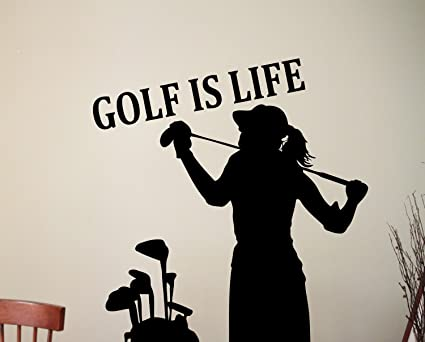 Woman Golfer Silhouette Wall Sticker Golf Is Life Quote Vinyl Decal