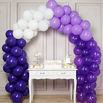 PartyWoo Purple and White Balloons, 12 pcs 12 Inch of Purple Balloons,  Lavender Balloons, Deep Purple Balloons, White Balloons for Purple