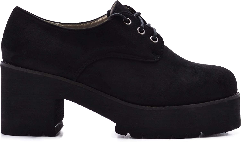 Zapatos de Mujer Blucher con Plataforma y Cordones de Ante.