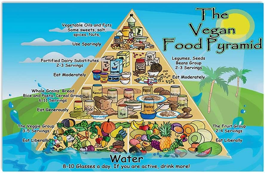 Vegan Food Pyramid Vegetable Oils and Fats Some Sweets Salt Spices Nuts Wall Art Hanging Poster Painting Watercolor Living Bedroom Home Decor No Frame Vegan Poster (White;12x18 Inches)