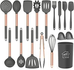 Silicone Cooking Utensil Set,AILUKI Kitchen Utensils 17 Pcs Cooking Utensils Set,Non-stick Heat Resistant Silicone,Cookware with Stainless Steel Handle (rose gold)