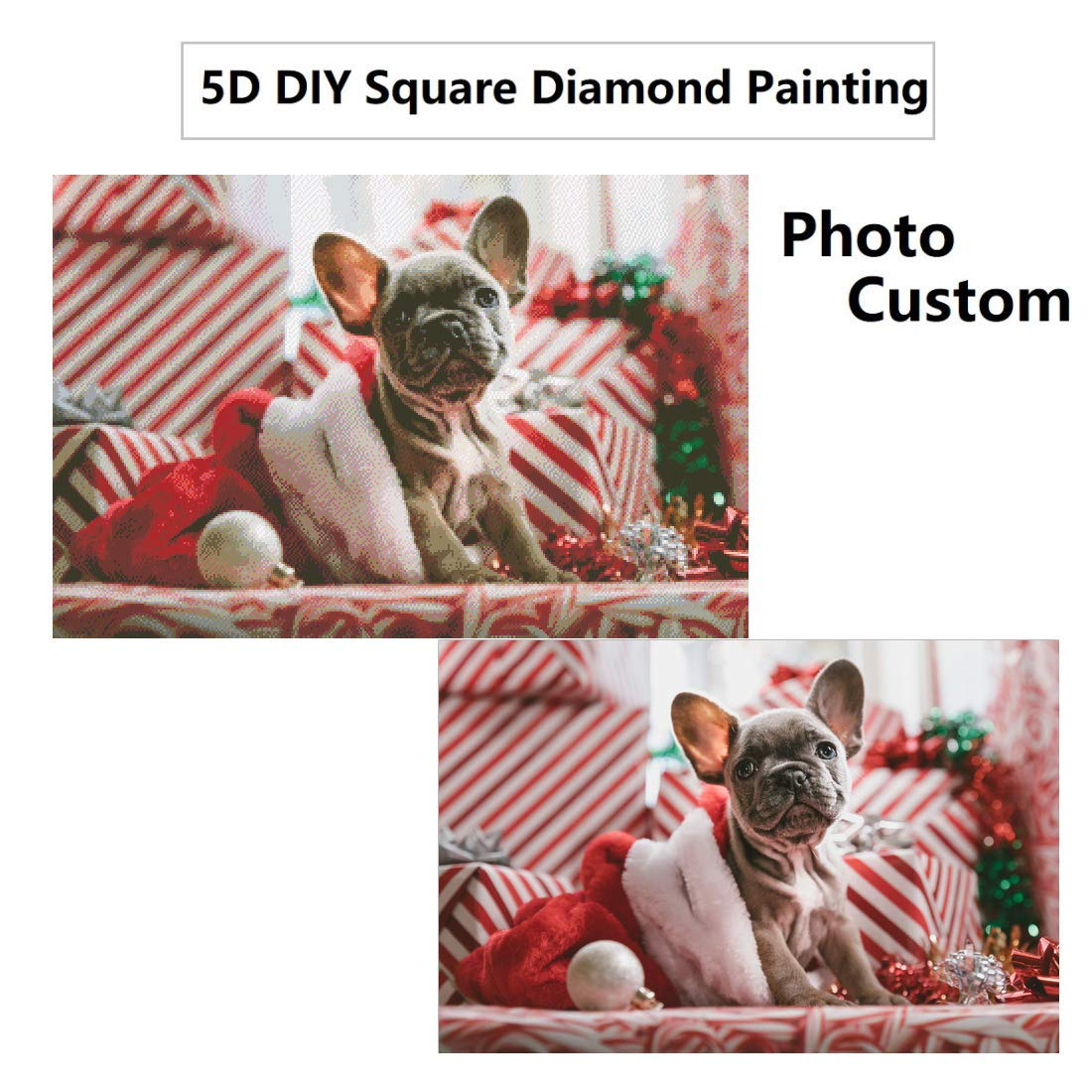 Personalized Photo Custom Diamond Painting Kits, DIY Square Full Drill 5D Crystal Rhinestone by Number Kits Embroidery Pictures Arts Craft for Home Wall Decor