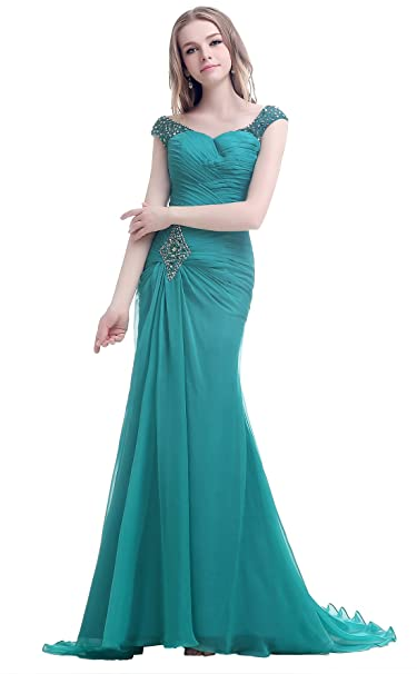 yan qiong Womens Beading Chiffon Formal Prom Dresses Sweep Train Evening Gown Green S
