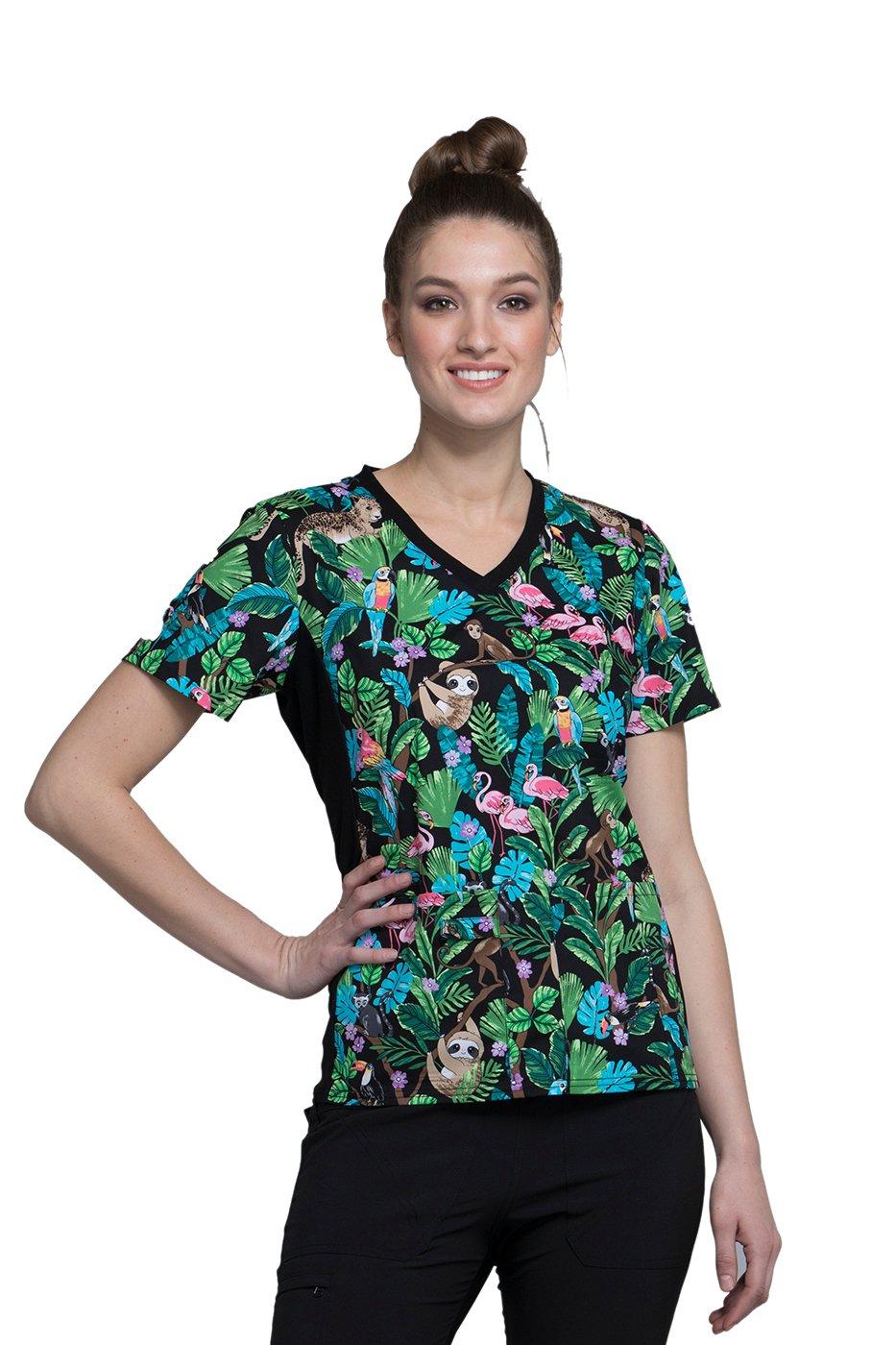 Cherokee Fashion Prints by Women's V-Neck Knit Panel Floral Print Scrub Top XX-Large Print