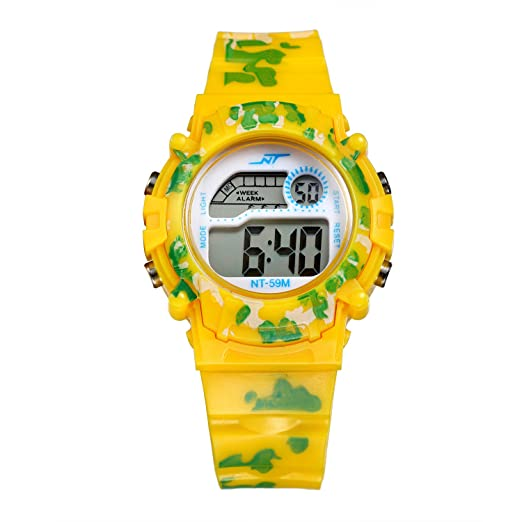 lancardo reloj niños electrónica multifuncional reloj deportivo reloj digital reloj impermeable para niño, niña estilo de coche amarillo: Amazon.es: Relojes