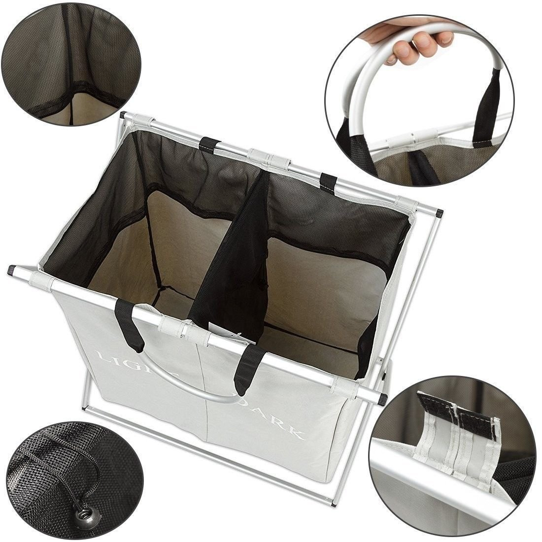 Double Laundry Hamper Sorter with Waterproof Bags,Foldable 2 Sections Durable Dirty Laundry Basket Clothes Bag for Bathroom Bedroom Home