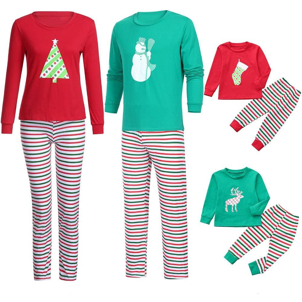Ansenesna Familien Outfit Pyjama Weihnachten,Mutter Vater Kinder Baby Weihnachten Soft Elegant Tops und Kariert Hose Kleidung Set