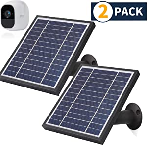 iTODOS 2 Pack Solar Panel Compatible With Arlo Pro 2, 11.8Ft Outdoor Power Charging Cable and Adjustable Mount