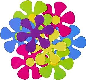 50 Pieces Retro Flower Cutouts Retro 60s Party Prop Paper Flower Cutout for Party Decorations