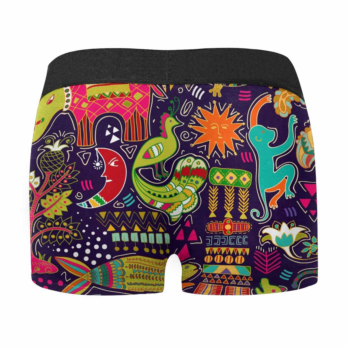 INTERESTPRINT Mens Boxer Briefs Underwear Colorful Tropic Backdrop with Animals and Geometric Elements XS-3XL