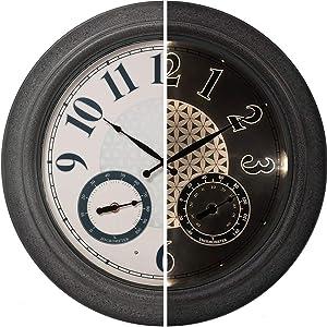 "PresenTime & Co 18"" Indoor / Outdoor Luminous Farmhouse Wall Clock with Thermometer & Hygrometer, Quartz Movement -Gray Stone Finish, Bright Warm Light"