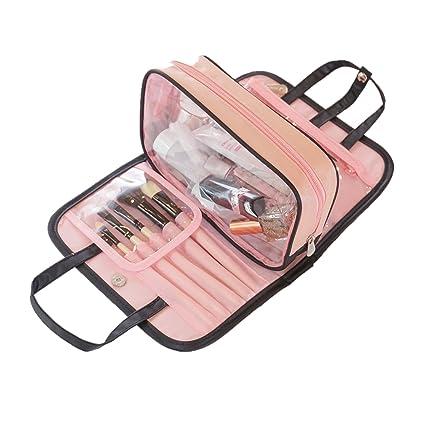 045d4fbd0 Neceser ligero bolsa de maquillaje para viajes con organizador de brochas  de maquillaje, bolsa de
