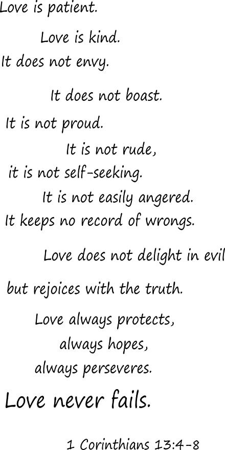 Amazoncom 1 Corinthians 134 8 Wall Art Love Is Patient Love Is