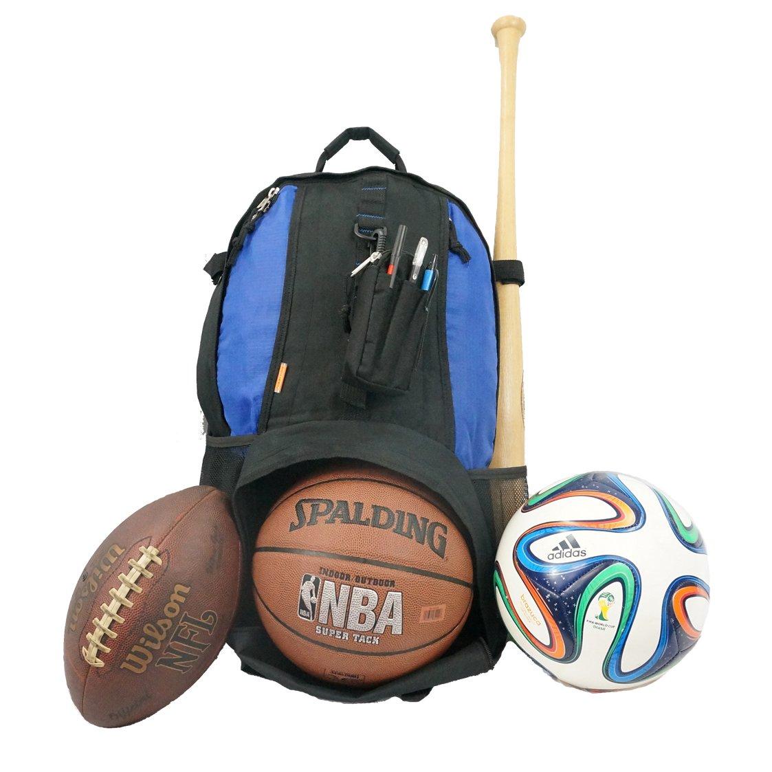 Baseball Backpack Softball Daypack Basketball Volleyball Backpack Football Soccer Bag w/ Ball Storage Helmet Compartment & Bat Holder & Coin Phone Pouch - Black/Blue
