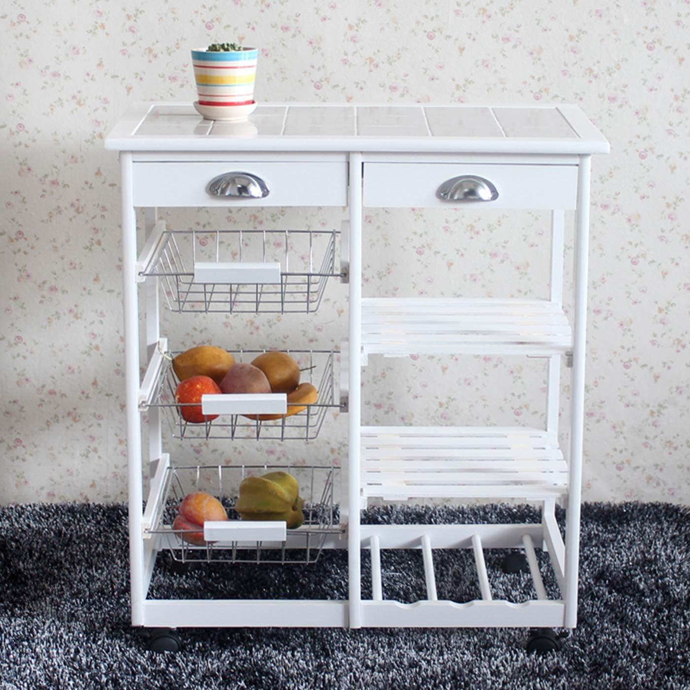 LeafRed C Kitchen & Dining Room Cart 2-Drawer 3-Basket 3-Shelf Storage Rack with Rolling Wheels Heavy Duty Shelving Storage Unit White