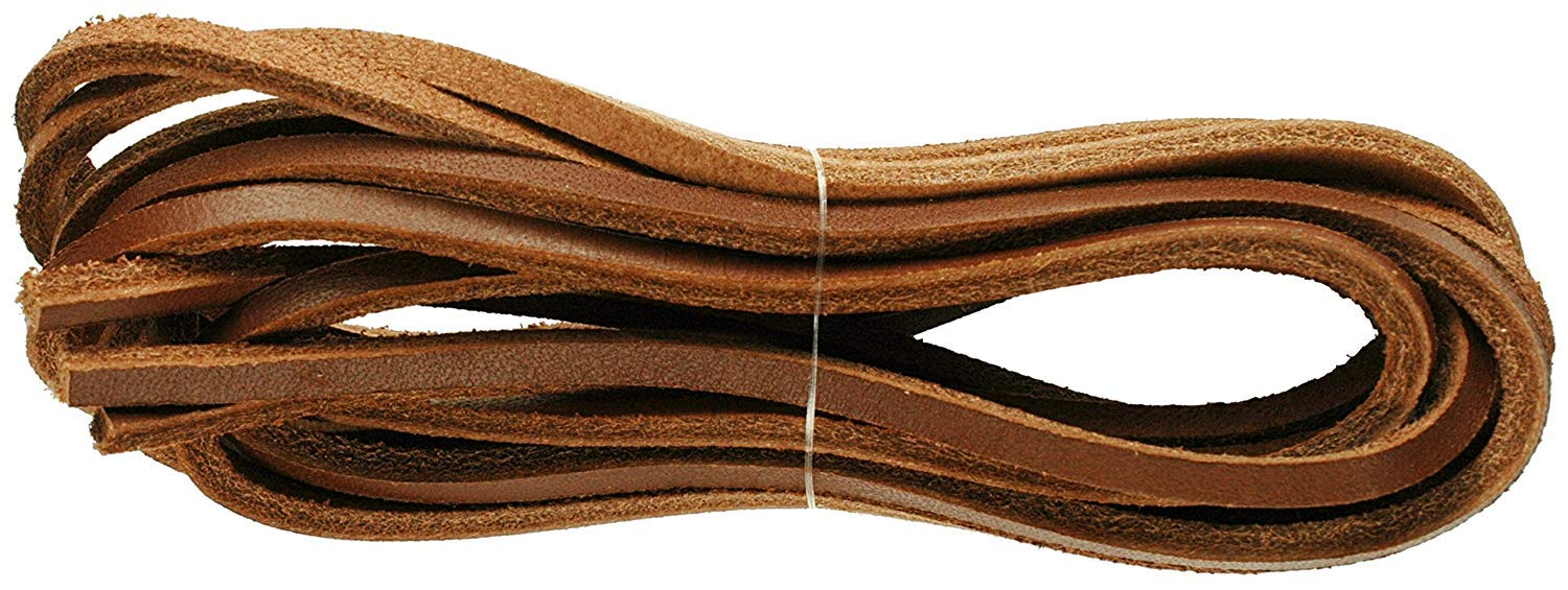 Leather Square Cut 120cm x 3 to 4mm Deck Shoe/Boot Laces Thongs (Chestnut Brown)