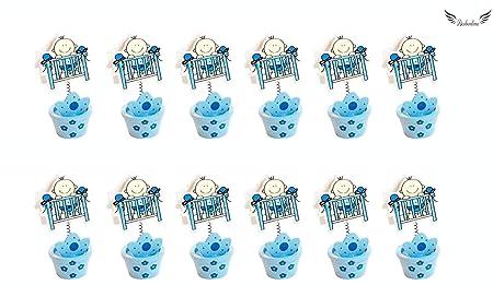 Acobonline 12 Piezas, Pinza madera bautizo de niño, Ideal para Comunión,Bautizo,Boda,Recuerdos,Cumpleaños,Fiesta,Viaje,Invitadas-Baby (Azul, Cama)