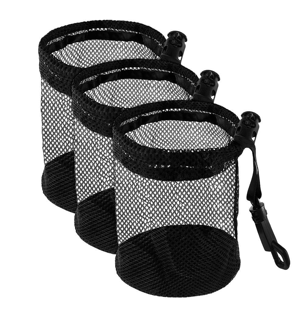 ELVES 3 PCS Golf Ball Bags with Sliding Drawstring Cord Lock Closure, Can Hold 12 Golf Balls,Black Mesh Bag for Golf Tennis Balls,Gym,Shower,Washing Toys,Diving