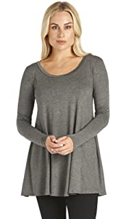 9bb8caa4702 Free to Live Women's Loose Flare Fit Extra Long or Short Sleeve Tunic -  Made in