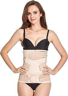 AICONL 3 in 1 Postpartum Support Recovery Belly Wrap Waist/Pelvis Postnatal Shapewear Beige