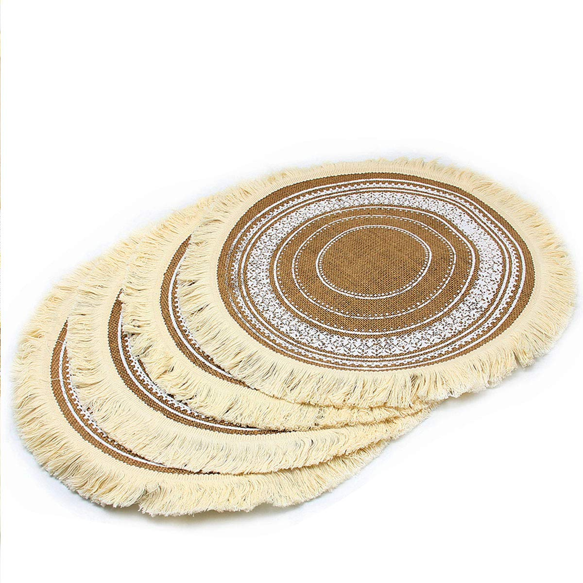 "HOMETOOK 100% Jute Rustic Vintage 17"" Round Placemat Decorated with Tassels for Parties BBQ's Everyday & Holidays Use (Set of 4) (Printing)"