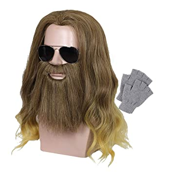 Angelaicos Men Long Curly Golden Brown Mustache Wig Anime Costume Party Wig
