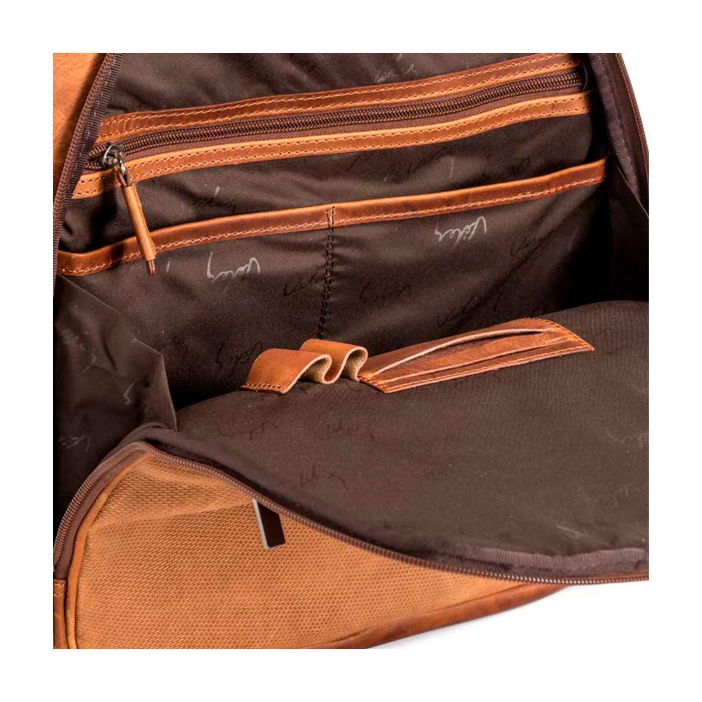 Mochila de Cuero para Hombre Miel VELEZ Leather Vintage Backpack for Men Honey