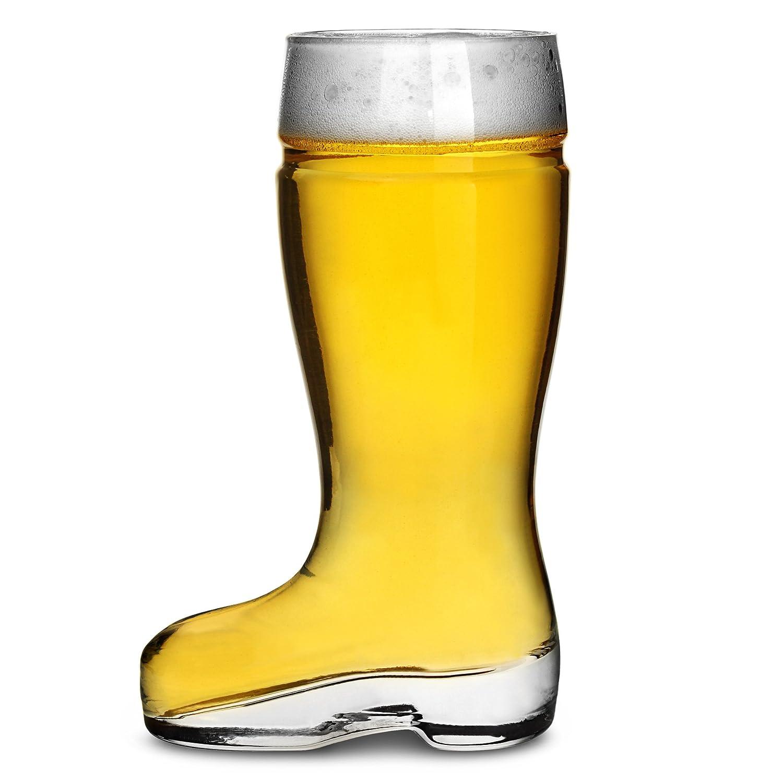 bar@drinkstuff Glass Beer Boot 11.6oz/330ml - Pack of 6 - German Beer Boot, Bierstiefel Boot, Novelty Beer Boot