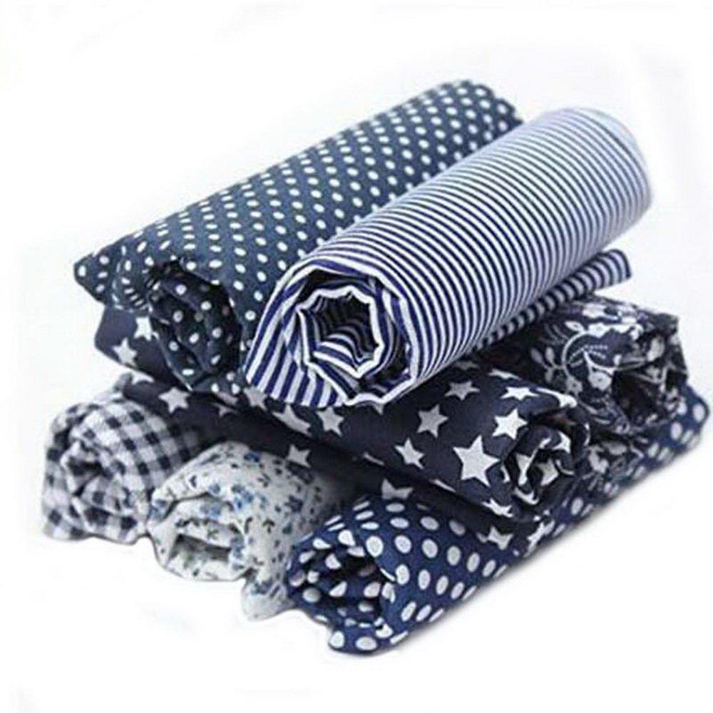 7PCs Tissu Carré en Coton Imprimé Bricolage Patchwork Série de Bleu Marine Coupon DIY Quilting Textile Artisanat Bundle Écologique Couture Scrapbooking 50x 50cm Cysincos