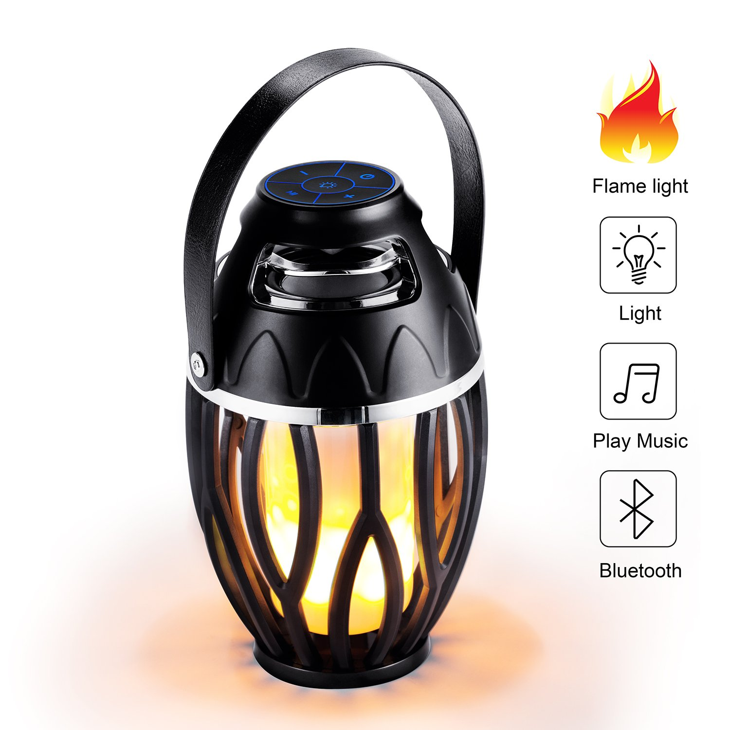 LED Flame Speaker,FW-ZONE Outdoor/Indoor Bluetooth Speakers LED Night Light,Camping Hiking Fishing Lamp, Dancing Atmosphere Flickers Flame Torch Two mode lamplight, Portable Stereo Speaker by FW ZONE
