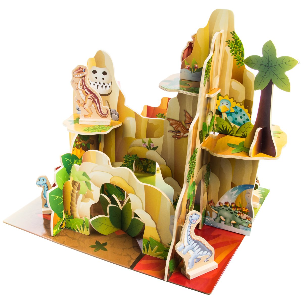 BBI Kids Indoor Multi Level 4 Sided Wooden Adventure Dinosaur Playset Toy Figures for Children .