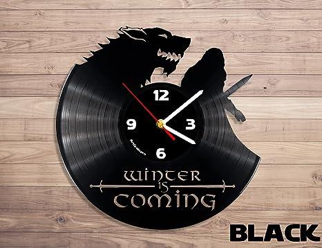 Juego de Tronos Casa Stark Disco de vinilo reloj de pared