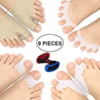 Bunion Corrector Protector Sleeves Kit for Cure Pain in Big Toe Joint, Tailors Bunion, Hallux Valgus, Hammer Toe, Toe Separators Spacers Straighteners Splint Aid Surgery