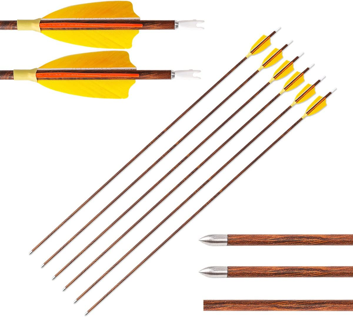 Letszhu 6 Pack Carbon Arrows 800 Spine Practice Shaft with Real Feathers Fletching for Compound Recurve Bows