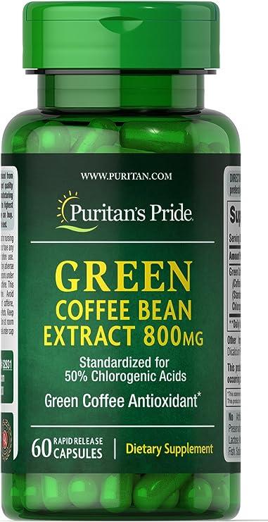Amazon Com Puritan S Pride Green Coffee Bean Extract 800 Mg 60 Capsules Health Personal Care